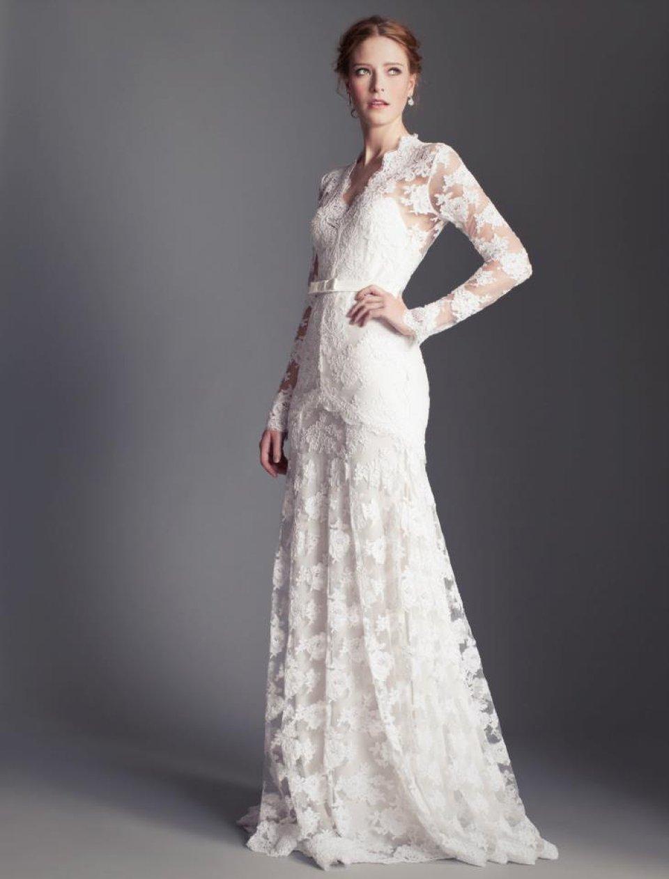 Купить Свадебное Платье С Длинными Ажурным Рукавом 32