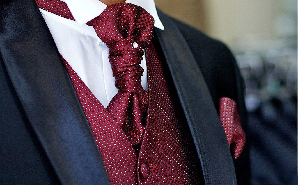 """Красивый английский свадебный галстук """"Аскот"""""""