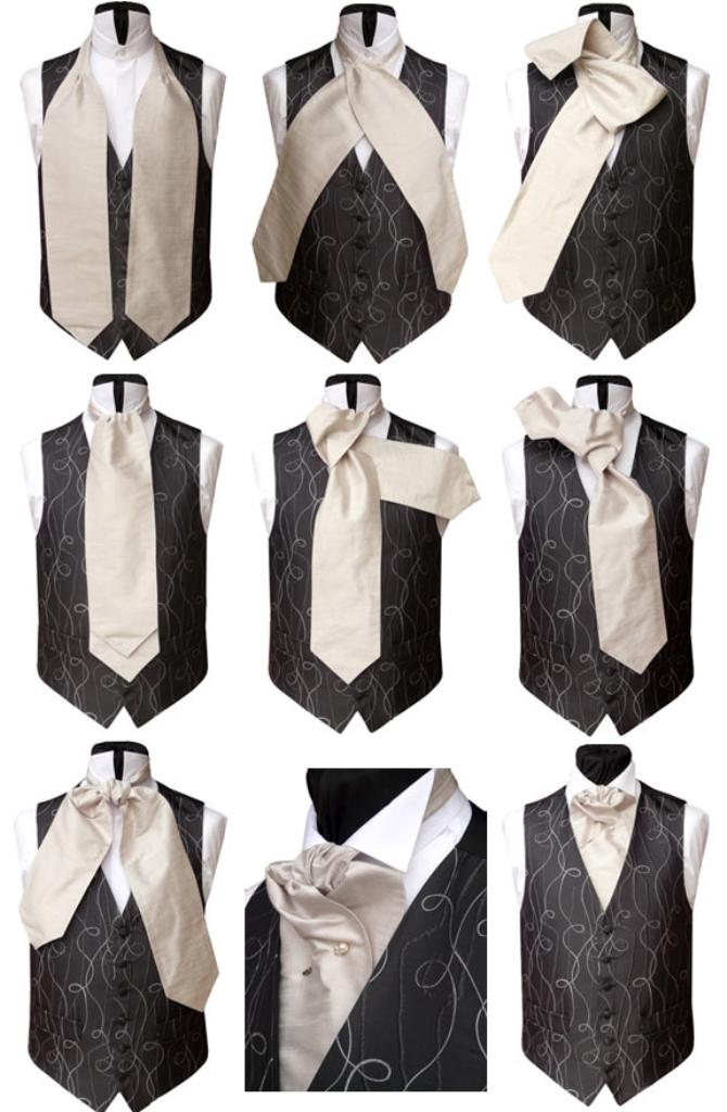 Порядок завязывания галстука узлом Аскот