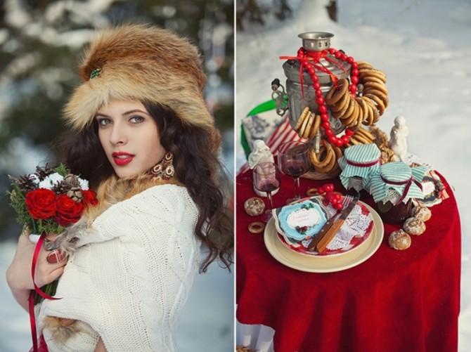 Русский стиль свадьбы в зимнюю пору  просто идеален