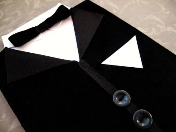 Открытка рубашка-костюм родом из оригами мира