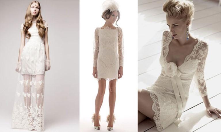 Короткие кружевные свадебные платья с рукавами