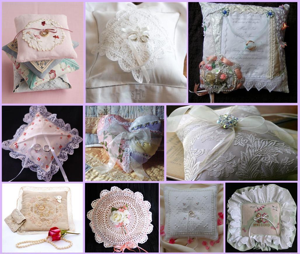 Все эти подушечки изготовлены умелыми ручками готовящихся к свадьбе невест